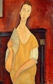 Woman with a Fan (Lunia Czechowska) 1919 Tableau sur Toile