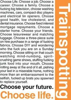 TRAINSPOTTING - choose life - плакат (poster)