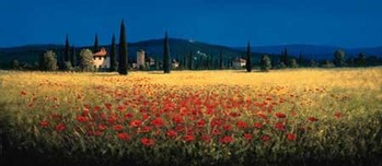 TUSCAN PANORAMA - POPPIES Festmény reprodukció