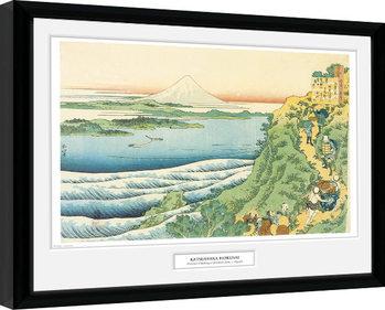 Hokusai - Travelers Climbing a Mountain Keretezett Poszter