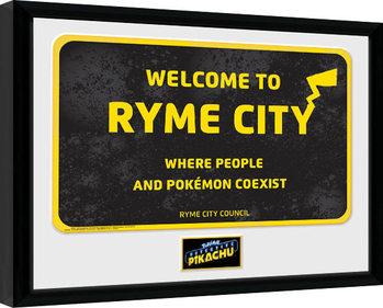 Pokemon: Pikachu, a detektív - Ryme City Keretezett Poszter