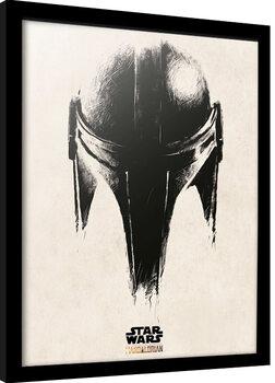 Keretezett Poszter Star Wars: The Mandalorian - Helmet