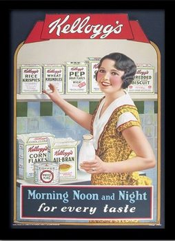 VINTAGE KELLOGGS - morning,noon & night üveg keretes plakát