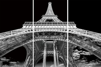 Üvegkép Paris - Eiffel Tower b&w study