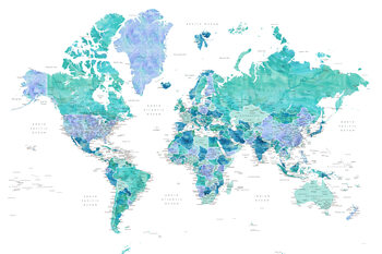 Karta Aquamarine and blue watercolor detailed world map