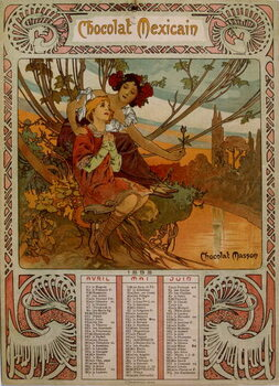 Chocolate Masson calendar illustrated by Mucha . a Czech Art Nouveau painter Reprodukcija umjetnosti