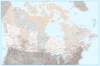 Ilustracija Detailed map of Canada with roads in blue and neutrals