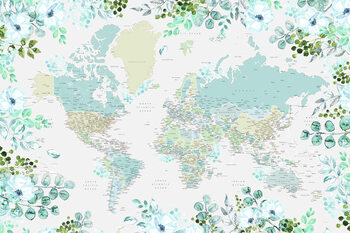 Ilustracija Floral bohemian world map with cities, Marie