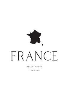 Ilustracija France map and coordinates