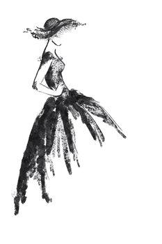 Ilustracija Full skirt dress fashion illustration in black and white
