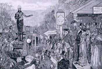 'General Jackson, president-elect, on his way to Washington', illustration from 'A Presidential Progress', pub. in Harper's Weekly, 1881 Reprodukcija umjetnosti