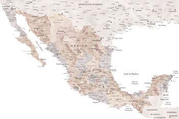 Ilustracija Map of Mexico in neutral watercolor