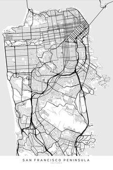 Ilustracija Map of San Francisco Peninsula in scandinavian style