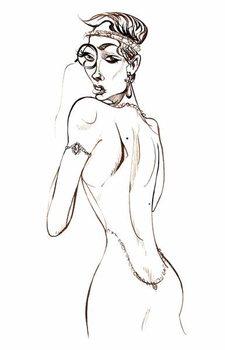 Model wearing a backless dress and a monocle Reprodukcija umjetnosti