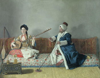 Monsieur Levett and Mademoiselle Helene Glavany in Turkish Costumes Reprodukcija umjetnosti