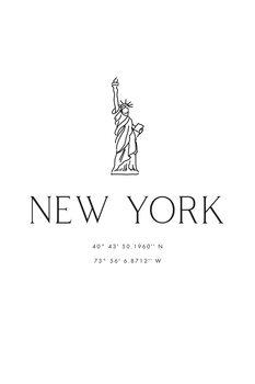 Ilustracija New York city coordinates with Statue of Liberty
