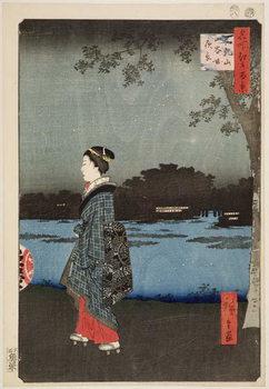 Night View of Sanya Canal and Matsuchi Hill, from the series '100 Views of Famous Views of Edo', 1857 Reprodukcija umjetnosti