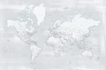 Karta Rustic distressed detailed world map in cold neutrals