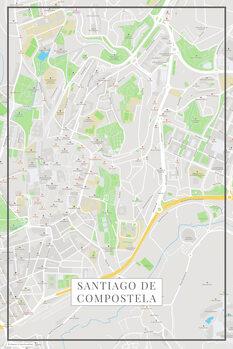 Karta Santiago de Compostela color