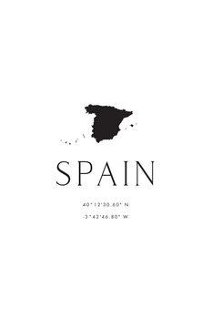 Ilustracija Spain map and coordinates