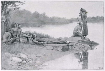 The Death of Indian Chief Alexander, Brother of King Philip, illustration from 'An Indian Journey' by Lucy C. Lillie, pub. in Harper's Magazine, 1885 Reprodukcija umjetnosti