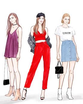 Ilustracija Trendy Girls