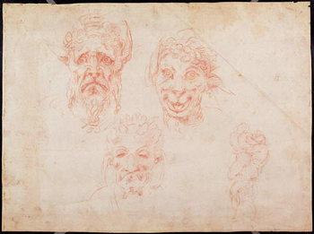 W.33 Sketches of satyrs' faces Reprodukcija umjetnosti