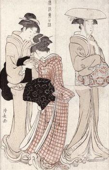Young woman wearing a wide straw hat, followed by a servant and a companion carrying a 'furoshiki', from the series 'Fuzoku Azuma no nishiki' (The Fashionable Beauties of Edo) 1783 Reprodukcija umjetnosti