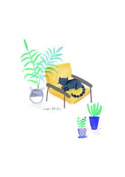 Ilustracija Black cat on mustard scandi chair