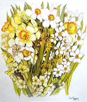 Daffodils, Narcissus, Forsythia and Primroses, 2000 Reprodukcija umjetnosti
