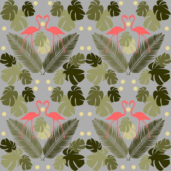 Flamingo and Palms Reprodukcija umjetnosti