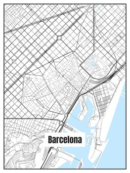 Ilustracija Map of Barcelona