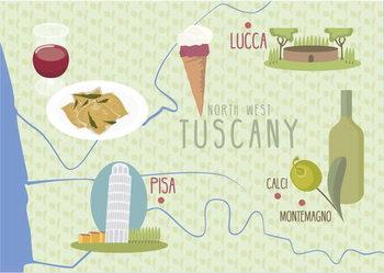 Map of Lucca and Pisa, Tuscany, Italy Reprodukcija umjetnosti