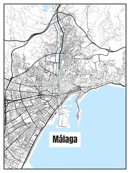 Ilustracija Map of Málaga