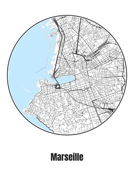Ilustracija Map of Marseille