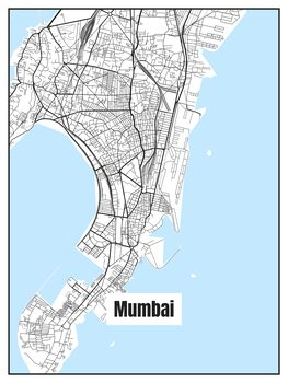 Ilustracija Map of Mumbai