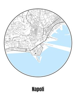 Ilustracija Map of Napoli