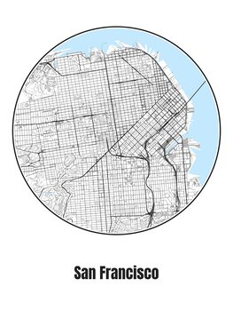 Ilustracija Map of San Francisco