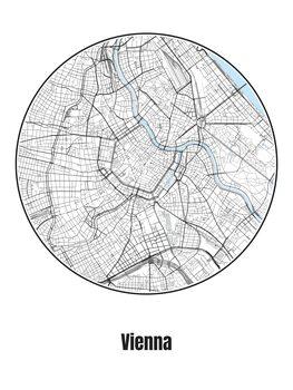 Ilustracija Map of Vienna