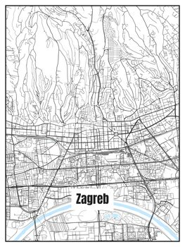 Ilustracija Map of Zagreb