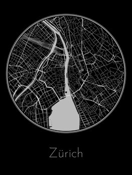 Ilustracija Map of Zürich