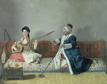Monsieur Levett and Mademoiselle Helene Glavany in Turkish Costumes Reprodukcija umjetnosti