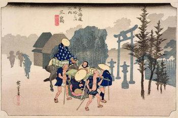 Morning Mist at Mishima, from the series '53 Stations on the Eastern Coast Road', 1833 Reprodukcija umjetnosti