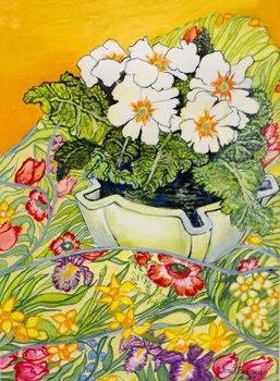 Pale Primrose in a Pot with Spring-flowered Textile,2000 Reprodukcija umjetnosti