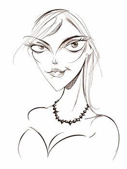 Sophie Dahl, English author and model, sepia line caricature, 2008 by Neale Osborne Reprodukcija umjetnosti