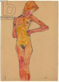 Standing Female Nude (Gerti Schiele); Stehender weiblicher Akt (Gerti Schiele), 1910 Reprodukcija umjetnosti