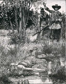 The Death of King Philip, engraved by A. Hayman, from Harper's Magazine, 1883 Reprodukcija umjetnosti