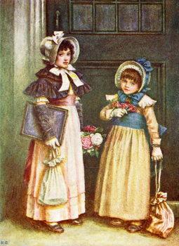 'Two girls going to school'  by Kate Greenaway. Reprodukcija umjetnosti