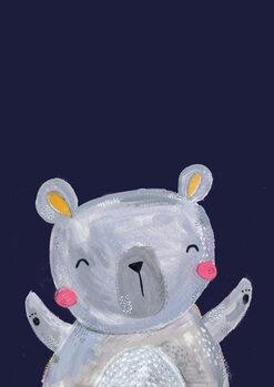 Ilustracija Woodland bear on navy