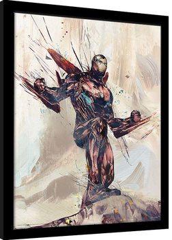 Uramljeni poster Avengers: Infinity War - Iron Man Sketch